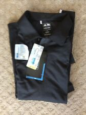 $65 NWT Adidas Polo ClimaCool Mens Golf Shirt Black Size Small (Relaxed)