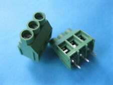 200 pcs Green 3 pin 6.35mm Screw Terminal Block Connector Wire Cage Type DC635