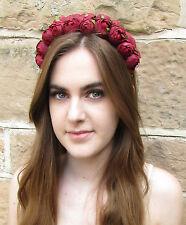 Burgundy Wine Deep Red Rose Bud Flower Headband Hair Crown Garland Festival Z79