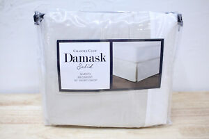 Charter Club QUEEN Bedskirt Damask Solid 550 TC Supima Cotton PARCHMENT A0Z175