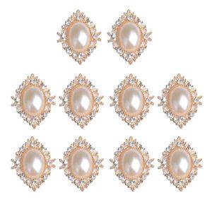 10pcs DIY Crystal Pearl Rhinestone Button Flatback Cabochon Embellishment