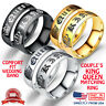 Couple's Matching Ring His or Her King Queen Stainless Steel Wedding Band