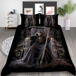 Halloween Bedding Set Purple Skull Print Duvet Cover With Pillowcases