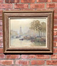 Dutch School Oil On Canvas Painting From Jan Knikker Jr. Amsterdam Canal Scene