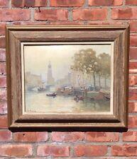 Dutch School Oil On Canvas Painting From Jan Knikker Jr. Amsterdam Canal Scene