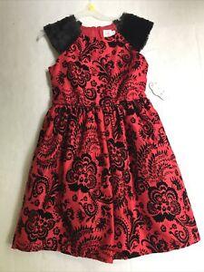 Wonder Nation Girls Red/Black Velvet Christmas Holiday Dress Size 10