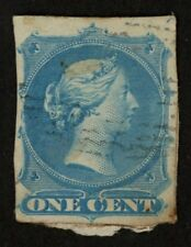 1860's-1870's Canada Post Card with a One Cent Young Queen Victoria Cut & Used