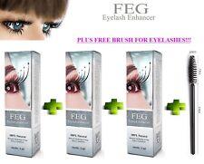 3 X FEG Eyelash ossalico Ciglia Siero crescita ciglia lunghe + pennello gratis