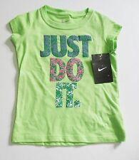 Nike Girls Just Do It. Short Sleeve T-Shirt Voltage Green Sz 4T - NWT