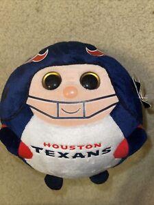 "TY Beanie Ballz HOUSTAN TEXANS 8"" Plush Ball NFL with tags (*62)"