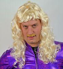Men's Blonde long curly Wig + Moustache, 80's Pop Fancy Dress Party, Retro Disco