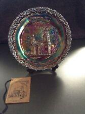 1972 Fenton Carnival Plate Christmas No. 3, THE TWO HORNED CHURCH Marietta, Ohio