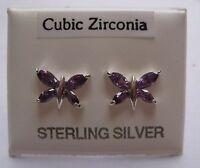 Argento Sterling e zirconia cubica ametista orecchini a farfalla