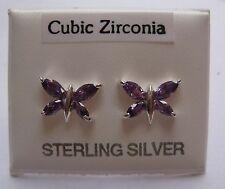 Sterling silver amethyst cubic zirconia Butterfly stud earrings