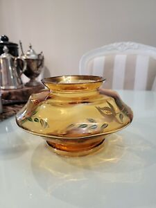 Art Deco Vintage Amber Glass Handpainted Vase Gold Wildflowers footed base