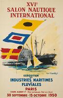 Affiche Originale - R. Chapelet - Salon Nautique - Paris - Nautisme - 1950