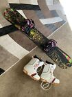 women's technine snowboard with bindings and size 7US women's boots.