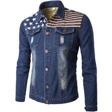 Mens Denim Jacket Jean Coat Long Sleeve Button Up Rider Regular Designer Jean