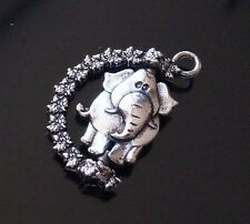 3x Tibetan Silver Rotatable Lucky Elephant Charms Pendants 26mm (TSC62)