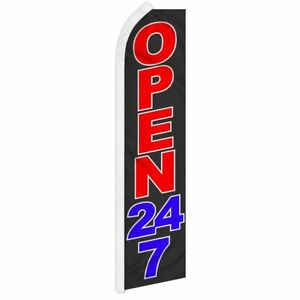 """OPEN 24/7"" advertising super flag swooper banner business sign 24 hour abierto"