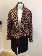 Magnifique Zara Noir & Léopard Imprimé Animal Laine Manteau Taille S portée deux fois