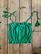Topshop green tassel strap crop top size 6 BNWT