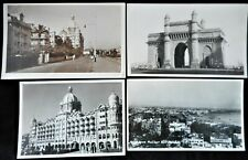 4 Vintage Bombay India Real Photo Postcards 1942 Taj Mahal Hotel Gate Birdseye