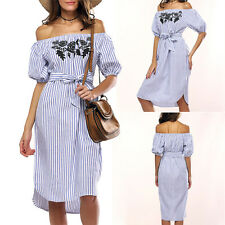 Women Ladies Off Shoulder Stripe Midi Dress Summer Ruffle Beach Party Sundress B