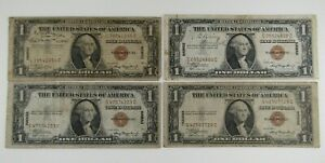 Lot of 4 1935-A Hawaii $1 Silver Certificates Circulated