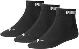 Puma Quarter Training Socks (3 Pairs) Black All Sizes Available From UK 2.5-14