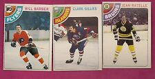 1978-79 OPC  FLYERS BARBER + ISLANDERS GILLIES +BRUINS RATELLE CARD (INV#4292)