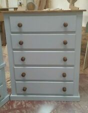 NEW BERKELEY RANGE FURNITURE 5 DRAWER CHEST GREY WITH WAXED TRIM FULLY ASSEMBLED