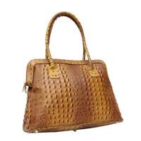 Ladies Women REAL Italian Leather Alligator Print Large Satchel Shoulder Handbag