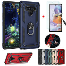 For LG Stylo 6 Shockproof Armor Magnetic Ring Stand Case Cover+Tempered Glass