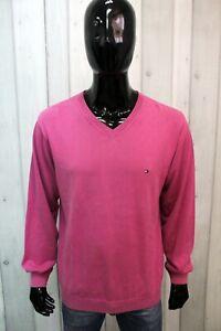 Maglione Tommy Hilfiger Uomo Rosa Taglia L Lana Sweater Maglia Pullover Man Logo