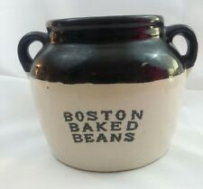 BOSTON BAKED BEANS CROCK - VINTAGE  GLAZED BROWN AND TAN USA MAKERS MARK