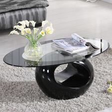 Black&Clear Designer Oval Tempered Glass Coffee Table Fibreglass Base Livingroom