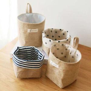 Hanging Storage Bag Cotton Linen Small Organizer Storage Basket Foldable Bags