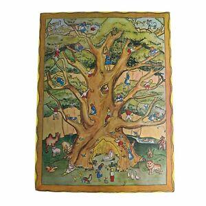 Vintage Plastic Paper Christmas Advent Calendar 1970s 1980s Nature Tree Scene
