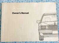 1992 MERCEDES 190 E ORIGINAL OWNERS MANUAL OEM VINTAGE  2.3L, 2.6L I6 SPORTSLINE