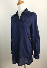 G Star Raw Womens Sz XS Dark Blue Long Sleeve Snap Button Shirt Top B24