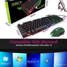 Gaming Tastatur Maus Set LED RGB Beleuchtet 2400DPI USB für PC Laptop PS4 Pro #2