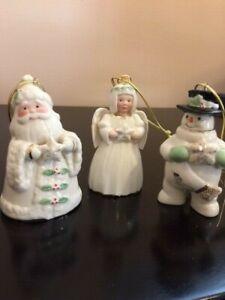 LENOX   Holiday Cheer  Santa, Snowman & Angel Porcelain Ornamen  Set   NIB