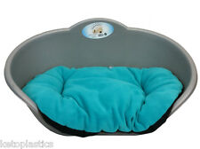 LARGE PLASTIC SILVER GREY PET BED WITH AQUA / TEAL CUSHION DOG CAT SLEEP BASKET