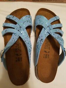NIB! BIRKI'S 'MAHE' Blue Sparkle Sandals 39  8.5-9 US Narrow