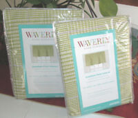"""WAVERLY Valances (2) GREEN and WHITE PLAID 52X18"""" each"""