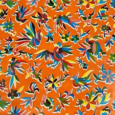 New Mexican Oilcloth Fabric Tablecloth PVC Cotton Waterproof 120cm Orange Otomi