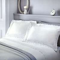 Serene RENAISSANCE White Embroidered Lace Trim Vintage Style Duvet Cover Set