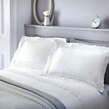 Luxury White Laced Frill Renaissance Duvet Cover and Pillowcase Set King