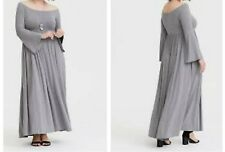 Torrid Gray Off Shoulder Jersey Maxi Dress 1X 14 16 #75190